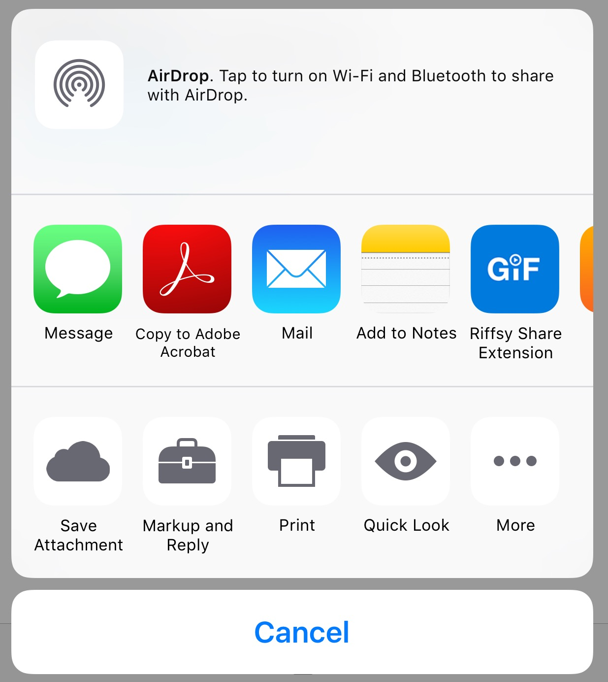 The iOS Share Menu